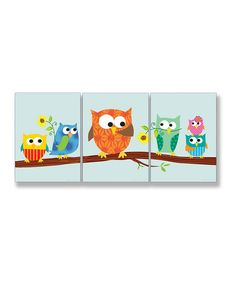 Take a look at this Sky Blue Owl Wall Plaque Set by Stupell Industries on #zulily today!