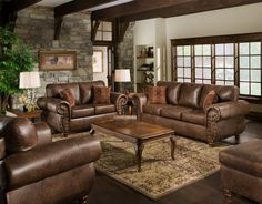 Classic Brown Leather Sofa And Carved Brown Stained Wooden Coffee Table On Brown Floral Pattern Rug Plus Stone Wall Panel With Brown Couch Living Room Plus Brown Couch Living Room Decor, Glamorous Decoration Living Room Ideas With Brown Sofa: Furniture, Living Room