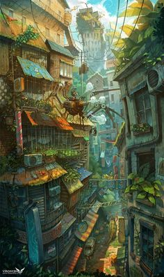 Art director Zhichao Cai (aka Trylea) uses no tricks or photocomping in his amazing, ridiculously vertical compositions, featuring incredibly pushes perspectives, impossible architecture and a plethora of detail to scour for in his incredible digital Fantasy Art Landscapes, Fantasy Landscape, Landscape Art, Landscape Paintings, Fantasy Concept Art, Fantasy Artwork, Art And Illustration, Art Illustrations, Arte Cyberpunk