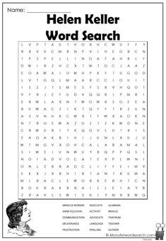 Kids Word Search, Word Search Puzzles, Fun Activities For Kids, Preschool Activities, Reading Worksheets, Free Worksheets, Free Printable Word Searches, Anne Sullivan, Womens Month