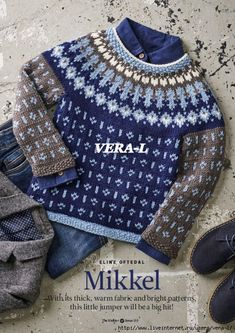 THIS COSY sweater for children aged from nine months to four years has a Nordic-inspired colourwork yoke, small motifs on the body and sleeves, and moss stitch edgings. Jumper Patterns, Crochet Patterns, Moss Stitch, Knit Crochet, Knitting, Children, Blouse, Fabric, Sleeves