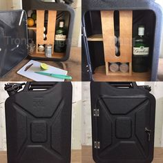 Upcycled Jerry Can Gin and Tonic Mini Bar, Picnic,Camping, Recycled, Matt Black Mini Bars, Jerry Can Mini Bar, Gin Und Tonic, Library Pictures, Man Cave Gifts, Factory Design, Novelty Items, Metal Working, Projects