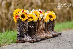 wedding-bridesmaid-boots-bouquets-sunflowers-photographybysarahcrail