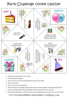 Party Challenge cootie catcher