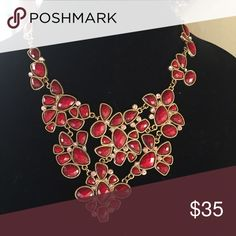 Beautiful Statement Necklace Beautiful statement necklace in red features accented rhinestones. Jewelry Necklaces