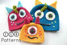 The Lazy Hobbyhopper: Monster hat pattern giveaway Crochet Monster Hat, Crochet Animal Hats, Crochet Monsters, Crochet Kids Hats, Crochet Bebe, Crochet Crafts, Crochet Yarn, Crocheted Hats, Knit Hats