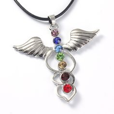 XSM 1pc Reiki Chakra Pendant,wings of an angel&caduceus 7 Chakra Rhinestone Pendant Necklace Fit Beauty Woman-in Pendants from Jewelry & Accessories on Aliexpress.com | Alibaba Group