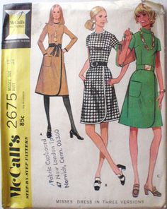 Women's Vintage Sewing Pattern  Dress with Front by Shelleyville, $8.00