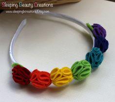 Rainbow Crown Headband Crayon box colors by sleepingbcreations, $12.00