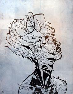 "creative portrait painting: Jason Thielke: ""Jewel"" (2012; aerosol & acrylic on panel, 23x20"")"
