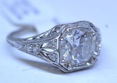 "Antique Platinum 1.63ct SI3, 1.7ctw, Size 5.5 ""nurses"" Inset Diamond Engagement/Wedding Ring"