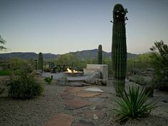 Firepit with surround sitting area, desert plants and sculptured paving path