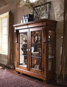 Kincaid Furniture Tuscano Curio Glass Door Display Cabinet at Belfort Furniture Dining Room Furniture Sets, Rustic Furniture, Home Furniture, Dining Rooms, Wooden Display Cabinets, Display Cabinet Lighting, Wood Display, Ideas Cabaña, Muebles Shabby Chic
