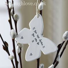 Porcelain hanging bird with the words 'follow your dreams' embossed into the lovely shiny glazed porcelain. This cute little bird looks beautiful anywhere in the home, and the quote can help give you that extra lift when you need it.