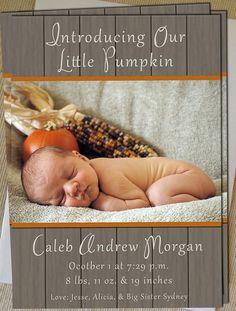 Etsy - Birth Announcement  Pumpkin SO CUTE pedalingdesigns, $15.00