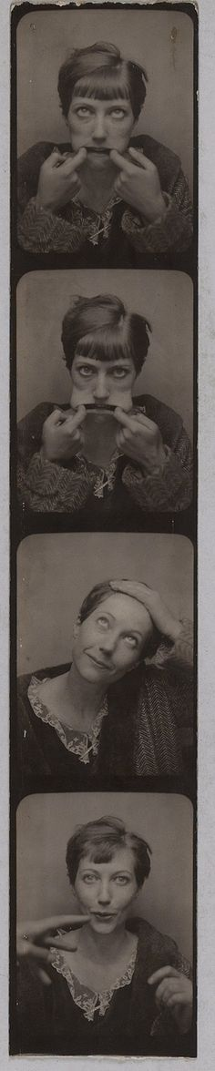 Vintage photo booth pics, woman making faces. Marie-Berthe Aurenche.