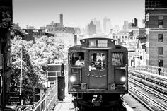 NYC Subway R1/R9 (Arnine) train arrives at Broadway-Myrtle Avenue station in Brooklyn