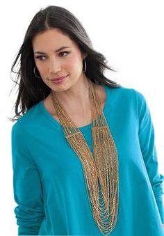 Plus Size Liquid Gold Necklace | Plus Size Winter Accessories | Jessica London