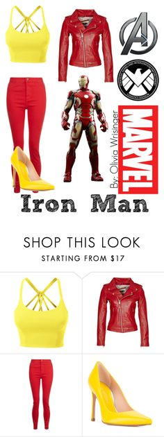 """""""Iron Man"""" by narcissa-bellatrix-andromeda on Polyvore featuring LE3NO, Schott NYC, Stuart Weitzman and Marvel"""