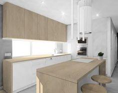 Wnętrz mieszkania w Katowicach - Średnia otwarta kuchnia w kształcie litery l z wyspą z oknem, styl skandynawski - zdjęcie od Manufaktura Studio grupa projektowa