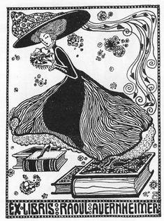Exlibris für Raul Auernheimer Mondäne Dame mit Hut und Blumen auf Büchern - P1 - 1909