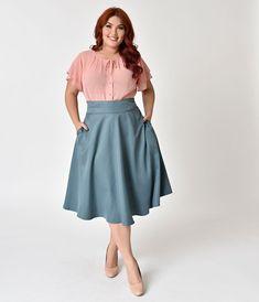 066b7514fd0 Plus Size Retro Style Sage High Waist Vivien Swing Skirt