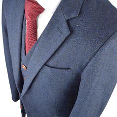 Classic Navy Herringbone Tweed Suit