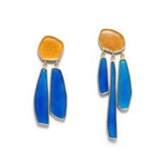 waterfall earrings in yellow and blue