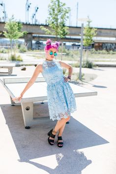 Poppy dress by @ukulelefashion   modelled by #NivesArrigoni #pinkhair #fashion #lace #dress #Zurich