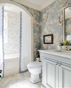 Blue floral bathroom powder room design