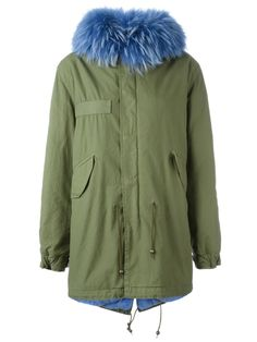 Mr & Mrs Italy blue trim parka coat