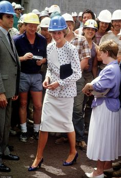 Princess Di visits the site of the new Parliament House in Canberra in 1985 dressed in bla...