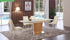 ESF Dining Table 2196 $760  Description :   Perfect for adding a modern touch to your dining space, this  dining table by ESF   lovely will help to unify your dining decor. (Dining Chairs are optional)  Features :  Matt Cream/Oak Veneer Glass Top Free Shipping  Dimensions :  Dining Table :  W 63/83 x D 36 x H 30