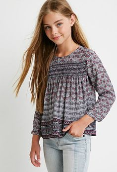 Tile Print Peasant Top (Kids) | Forever 21 girls | #forever21kids