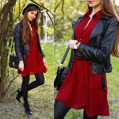 Get this look: http://lb.nu/look/7338892  More looks by Ariadna Majewska: http://lb.nu/ariadna92  Items in this look:  Sheinside Wine Red Dress, H&M Black Leather Jacket   #casual #minimal #street