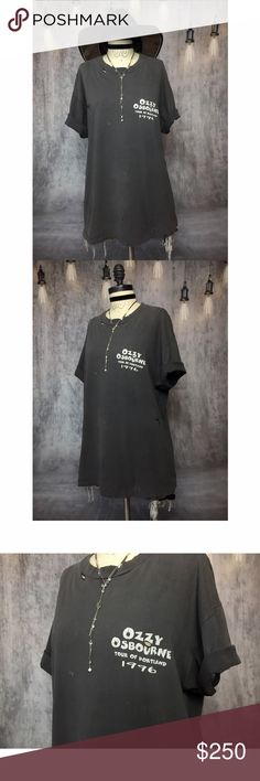 EXTREMELY RARE 1996' CREW MEMBER OZZY OSBOURNE TEE EXTREMELY RARE 1996' CREW MEMBER OZZY OSBOURNE TEE!!! AHHHHHHMAZING VINTAGE OZZY OSBOURNE backstage CREW MEMBER tee! TOUR OF PORTLAND! 3 dates on back with 2 of them CANCELLED! Front of shirt is dated 1996! Literally can't find another one of these anywhere! No one will be wearing your TEE!!! Fabric is a PERFECT FADDED BLACK COTTON! Tons of NATURAL DISTRESSING! MEASUREMENTS - BUST: 23' / LENGTH: 28.5' MADE IN USA #unisex #mens #concert #band…