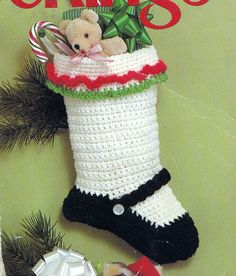 Crochet Christmas Stocking Mary Jane Vintage Crocheting by padurns, $2.50