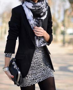 Gray leopard print bodycon dress + black leggings + black blazer.
