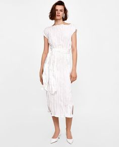 Image 1 of LONG CREASED-EFFECT DRESS from Zara