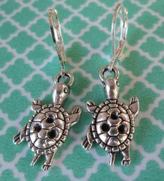 Silver Toned Turtle Charm Earrings  Iron by FiveEtsyJewelry, $10.00