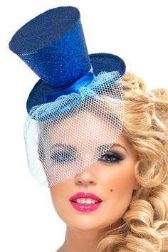 Steamseapunk! Blue Glitter Mini Top Hat on Headband