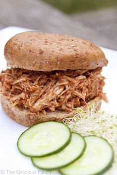 Clean Eating Slow Cooker Pulled Pork Sandwiches  8 boneless, pork chops-fat trimmed (although most folks use a pork shoulder – about 4 pounds),  2 (15 oz) cans tomato sauce (no sugar added, low or no sodium is best),  3 tbsps onion powder,  2 tbsps garlic powder,  1 tbsp cumin,  2 tsps ground cinnamon,  2 tsps chili powder,  1/2 tsp cayenne,  Salt to taste (after cooking)