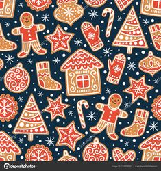 Winter seamless patterns with gingerbread cookies. Christmas repeating texture for surface design, wallpapers, fabrics, wrapping paper etc. Textiles, Scandinavian Christmas, Illustrations, Gingerbread Cookies, Gingerbread Houses, Vector Background, Candyland, Repeating Patterns, Surface Design