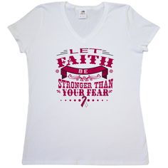 Keep inspired with Let Faith Be Stronger Than Your Fear Women's V-Neck T-Shirts for Head Neck Cancer  awareness featuring an eye-catching text design with awareness ribbon. $17.99 www.store.gifts4awareness.com