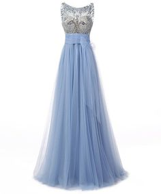 blue prom dress, long prom dress, tulle prom gown, beaded prom dress, popular evening dress 2017, BD154