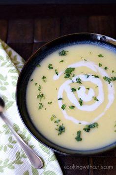 Irish Potato Leek Soup   cookingwithcurls.com