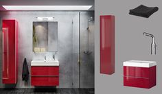 GODMORGON/BRÅVIKEN red high-gloss wash-stand with two drawers and GODMORGON high cabinet