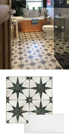 Annie brought her bathroom space back to life by creating a striking statement floor. She used our Scintilla Tiles, which have a star-shaped pattern, to form an eye-catching base in. Metro Tiles Bathroom, Art Deco Bathroom, White Bathroom Tiles, Bathroom Goals, Bathroom Floor Tiles, Bathroom Renos, Small Bathroom, Bathroom Ideas, Bathroom Design Inspiration