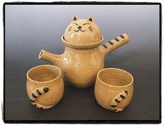 Super Cute Tabby Cat Teapot and Teacup Set