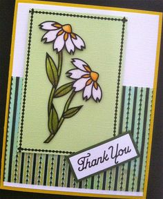 For this card I used the Flower in Frame Peel Off nr 2534, Thank You nr 303 and Assorted borders nr 1167. The background is a piece of Green Iris Shimmer Sheetz (SS-0107), embossed with a Sizzix embossing folder and rubbed over the embossed parts with a black StazOn ink pad. Coloring is on top of the Highlight glitter (mfp 50).